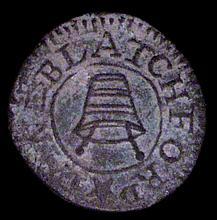 British Tokens: 17th Century Farthing Somerset, Montacute, Lane Blatchford, Mortar and Pestles, Dick