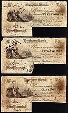 English Banknotes: Durham Bank £5 (3) dated 1882 for J.Backhouse, Grant 1071, signature cut-cancelle