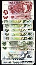 English Banknotes: Five Pounds Gill B353 (2) SA10 and SE90, One Pound (7) Page B322 (2), Page B337 (