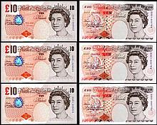 English Banknotes: Ten Pounds Lowther First series B369 AA01 low numbers (3), Kentfield First series