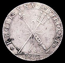 English Hammered Coins: Shilling Charles I Pattern or Medalet in silver 1628 by N.Briot 29mm diamete
