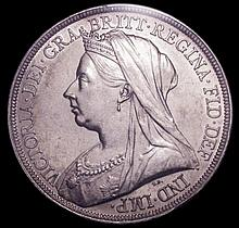English Coins: Crown 1893 LVI Davies 503f - dies 1+I. A very scarce rev. with an elongated, broad st