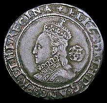 English Hammered Coins: Sixpence Elizabeth I Fifth Issue 1580 S.2572 mintmark Latin Cross Good Fine