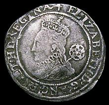 English Hammered Coins: Sixpence Elizabeth I Fifth Issue 1580 80 over 79 S.2572 mintmark Latin Cross
