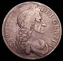 English Coins: Crown 1682 2 over 1 ESC 65A Portrait Fine, the legend weak with some smooth areas, ma