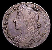 English Coins: Halfcrown 1688 ESC 502 approaching Fine