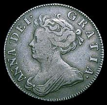 English Coins: Shilling 1705 Plumes ESC 1135 Fine/Good Fine with some light haymarking