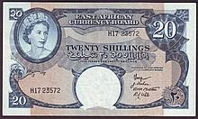Bank Notes -  East Africa 20 shillings QE2 issued 1958-60 se