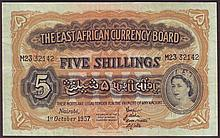 Bank Notes -  East Africa 5 Shillings 1/10/1957 Pick 33 VF p