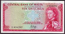 Bank Notes -  Malta 10 shillings issued 1968, QE2 portrait,