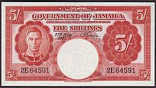 Bank Notes -  Jamaica 5 shillings dated 27th May 1957 series