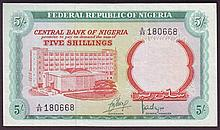 Bank Notes -  Nigeria 5 shillings issued 1968 series A/89 18