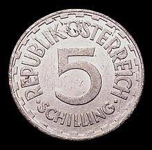 Coins -  Austria 5 Schilling 1957 KM#2879 EF with surface ma