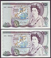 English Bank Notes -  Twenty pounds Gill B355 (2) issued 198