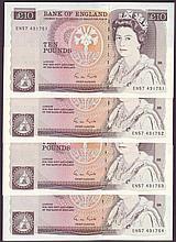 English Bank Notes -  Ten pounds Gill B354 (4) a consecutive