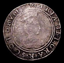 Coins -  Scotland Testoon Mary 1553 First Period S.5401 port