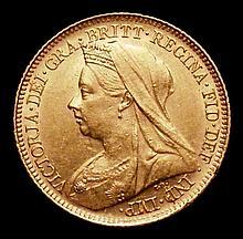 English Coins -  Half Sovereign 1900S Marsh 504 GVF/NEF scar