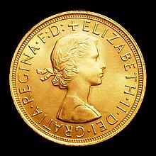 English Coins -  Sovereign 1957 Marsh 297 UNC with minor con