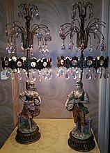 vintage Prisms Glass / Porcelain Lamps / Pair
