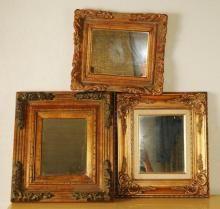 Vintage Ornate Gold Gilt Framed Mirrors / Set of 3