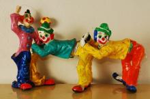 Lot of 3 Vintage Paper Mache Clowns