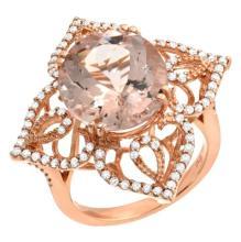 7.44 Carat Morganite and Diamond Ring 14K Gold
