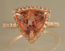 3.45ct Morganite and Diamond Ring in Rose Gold