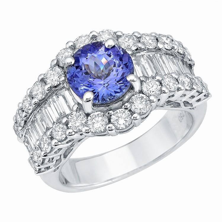 6.59ct Tanzanite and Diamond Ring