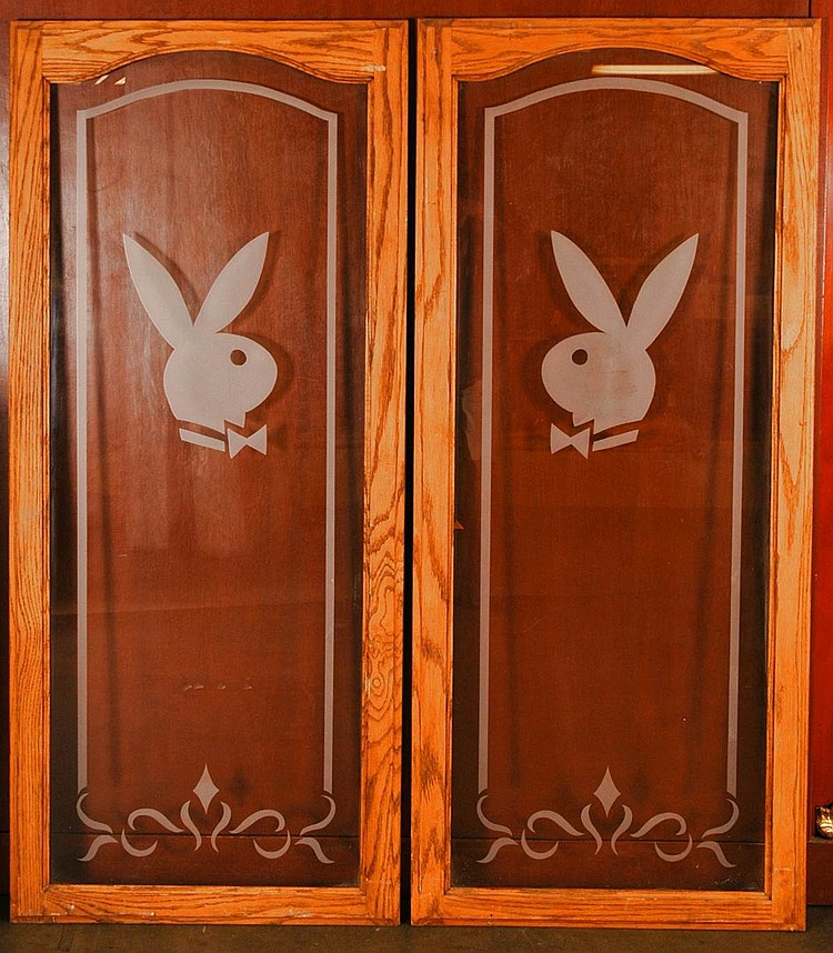 Pair Vintage Glass Doors with Decorative Etched glass Playboy Logo / Solid mahogany frame