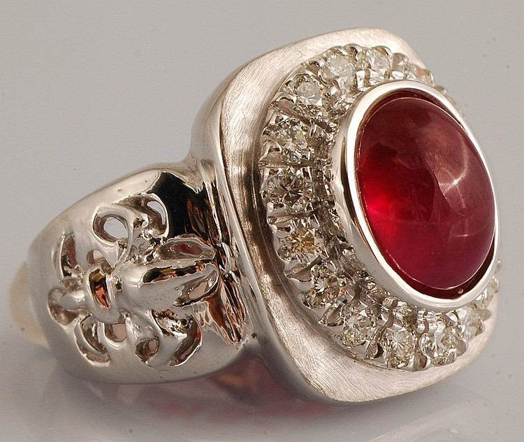 8.27ct - Cabochon Ruby and Diamond Ring