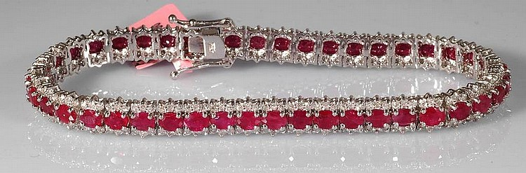 11.7ct Ruby and Diamond Bracelet in 18K White Gold
