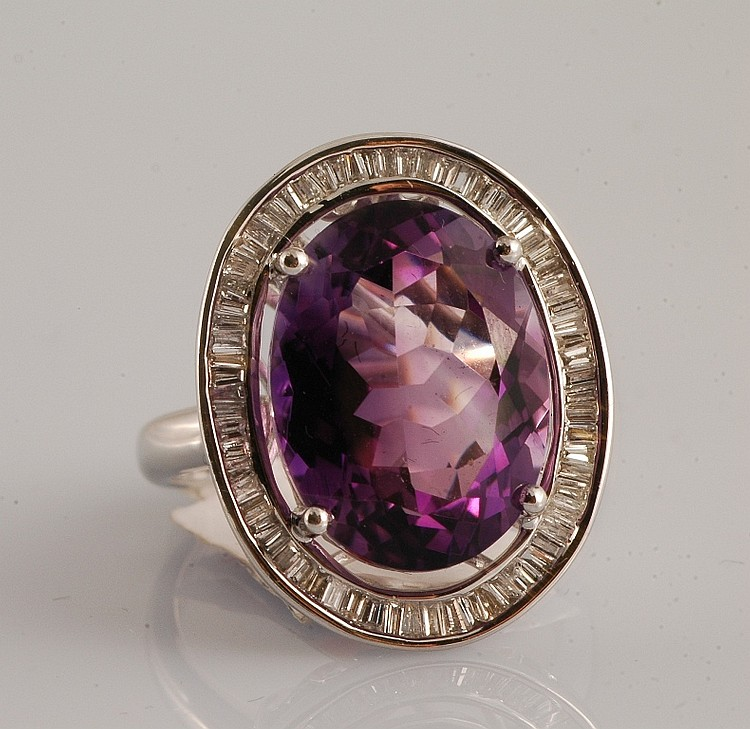 10.26 ct Amethyst and Diamond Ring
