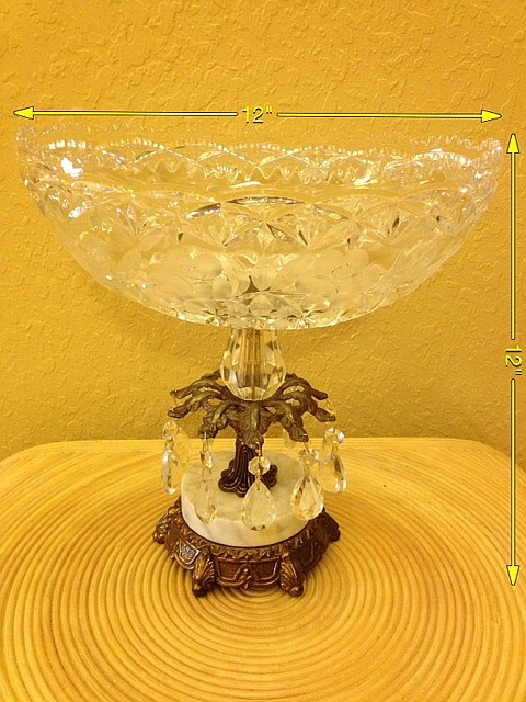 Vintage Crystal Bowl on Brass and Marble Base