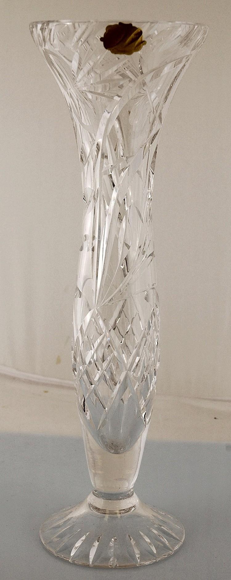 Vintage Echt Bleikristall Crystal Footed Vase Germany 12