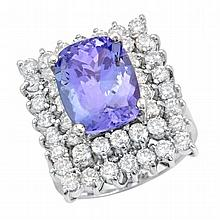 6.40ct Tanzanite and 2.57ct Diamond Ring
