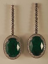 14.93 Carat Emerald and Diamond Earrings 14K Gold