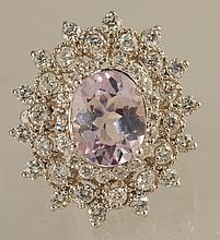 5415.56ct Kunzite and Diamond Ring in White Gold