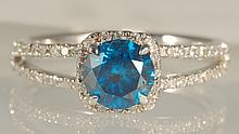 1.35 CT Blue Diamond Ring 18K White Gold