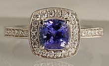 1.57 ct Tanzanite and Diamond Ring 18K White Gold