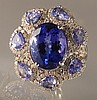10.61ctw Tanzanite & 1.16ct Diamond Ring 18K