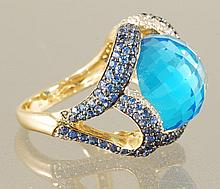 17.44 BLUE TOPAZ, SAPPHIRE AND DIAMOND RING