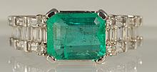 3.18 ct Emerald and Diamond Ring