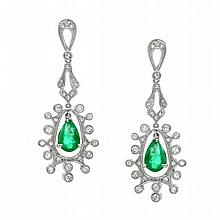 3.86 Carat Emerald and Diamond Earrings