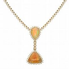 10.60 Carat Diamond and Opal Necklace