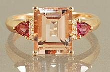 3.23CT  MORGANITE, DIAMOND AND PINK TOPAZ RING