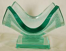 Olga P. Original Art Deco Crystal Vase, Signed