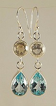 Blue Topaz & White Quartz Earrings