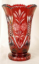 Bohemia Czech Hand Cut Rubin Crystal Vase 10