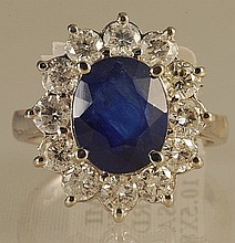 6.28ct Sapphire and Diamond Ring in White Gold