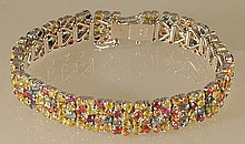 29.89ct Multi-colored Sapphire Bracelet